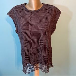 Zara oversized sleeveless mesh/net overlay shirt